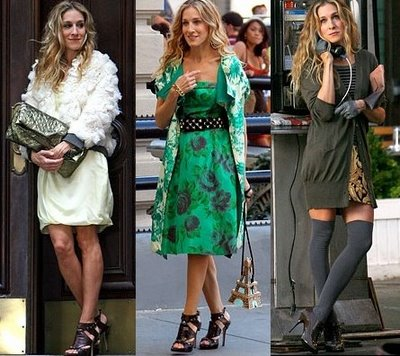 Carrie knows.  Statement shoes finish a great outfit. I covet the Patricia Field stud belt.