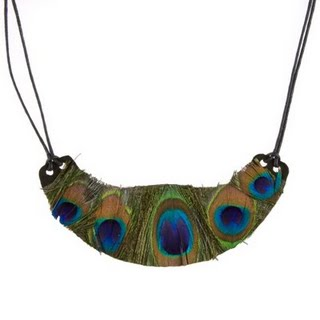 Charlotte Russe peacock feather bib necklace. Exotic!