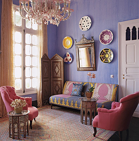 Elle Decor: Paris Meets Casablanca. I love the muted pastels with the sparkle of crystal and glass of porcelain.