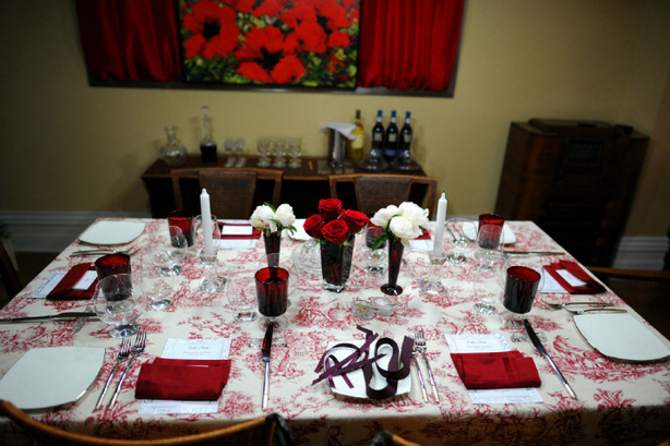 Ooh French Country in Red A pretty table setting from Dinner Party Wars & Hostess Etiquette 101 \u2014 the love collage