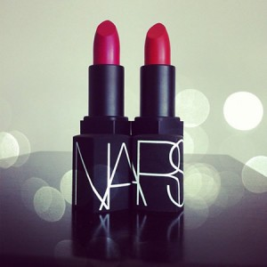 Lately, I've been sporting vibrant redlipstick to work and to parties. I love the creamy texture of NARS -- the shades of Manhunt and Red Lizard make 'em stop and stare. Trust.