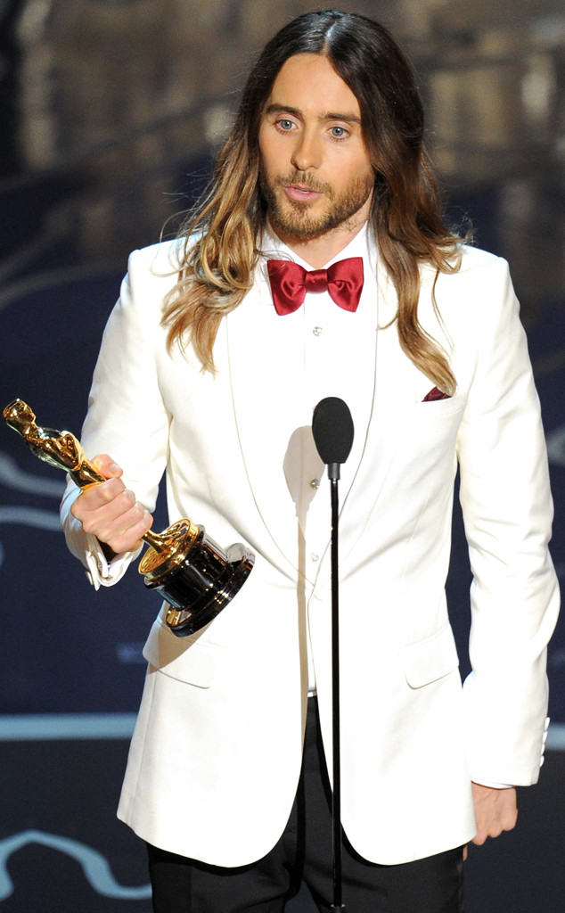 Jared Leto winning his Oscar for Dallas Buyers Club.  He got his looks from his mama.