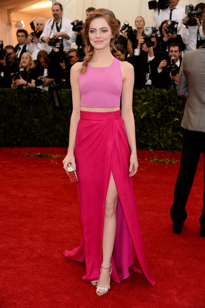 Crop top! Emma Stone rocks a side braid and pink on pink Thakoon.