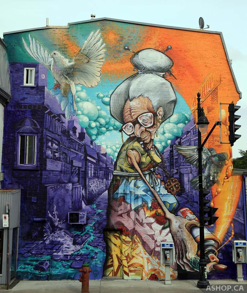 Admire the Montreal street art while you galavant.