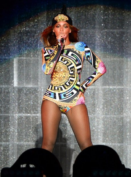 Versace, Versace, Versace: B in Miami with a custom Atelier Versace bodysuit. Loving that emblem cap.