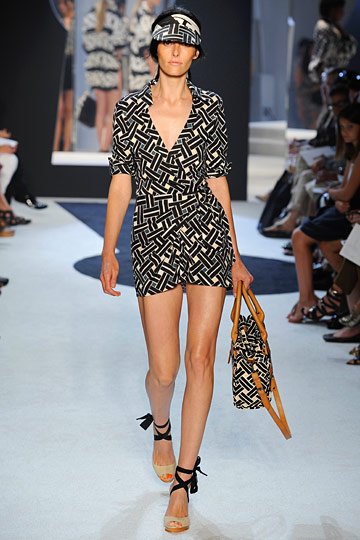 Is it a wrap dress? Is it a romper? OMG it's both. Just can't get enough of this DVF Wrap Dress Romper on the runway and sported by Gwyneth