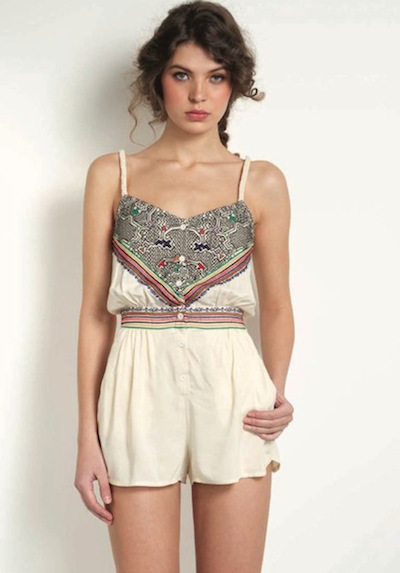 Mara Hoffman romper combines a soft cotton with intricate embroidery details.