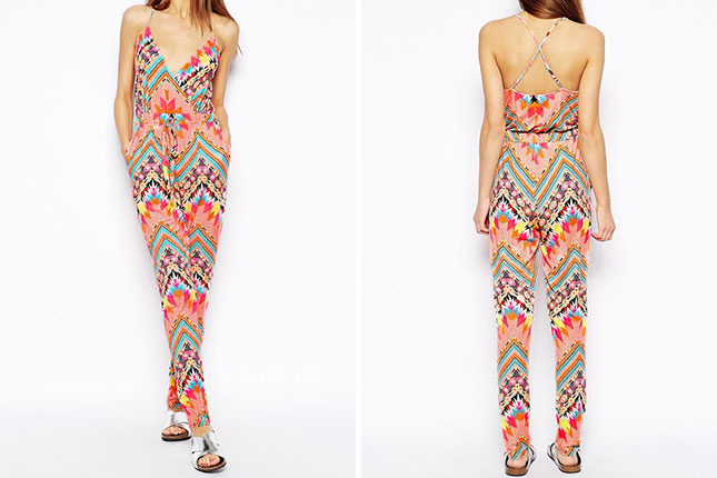 Topshop deep V-neck jumpsuit in the most vibrant colours and tribal print. Love the geometric shapes which remind me of Morrocan zilij.