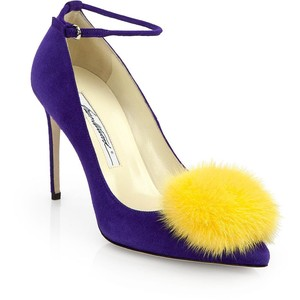 If you are wearing these Brian Atwood Gitte Suede and Mink shoes, it is highly appropriate to scissor kick your gams in the air for friends to admire the furry softness of your pom-poms.