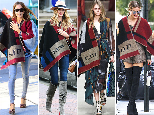 Blanket brilliance: That ubiquitous Burberry blanket cape monogrammed if you are fameuse or too lucky.